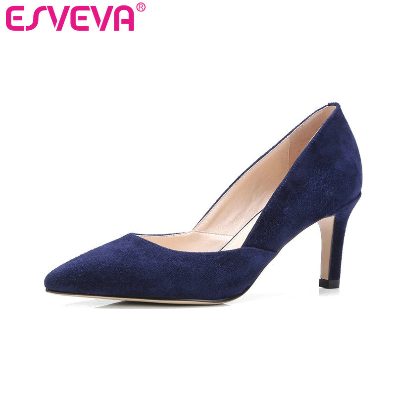 где купить ESVEVA 2017 High Heel Women Pumps Genuine Leather Two-Piece Stiletto Thin Heel Women Shoes Pointed Toe Wedding Shoes Size 34-39 дешево