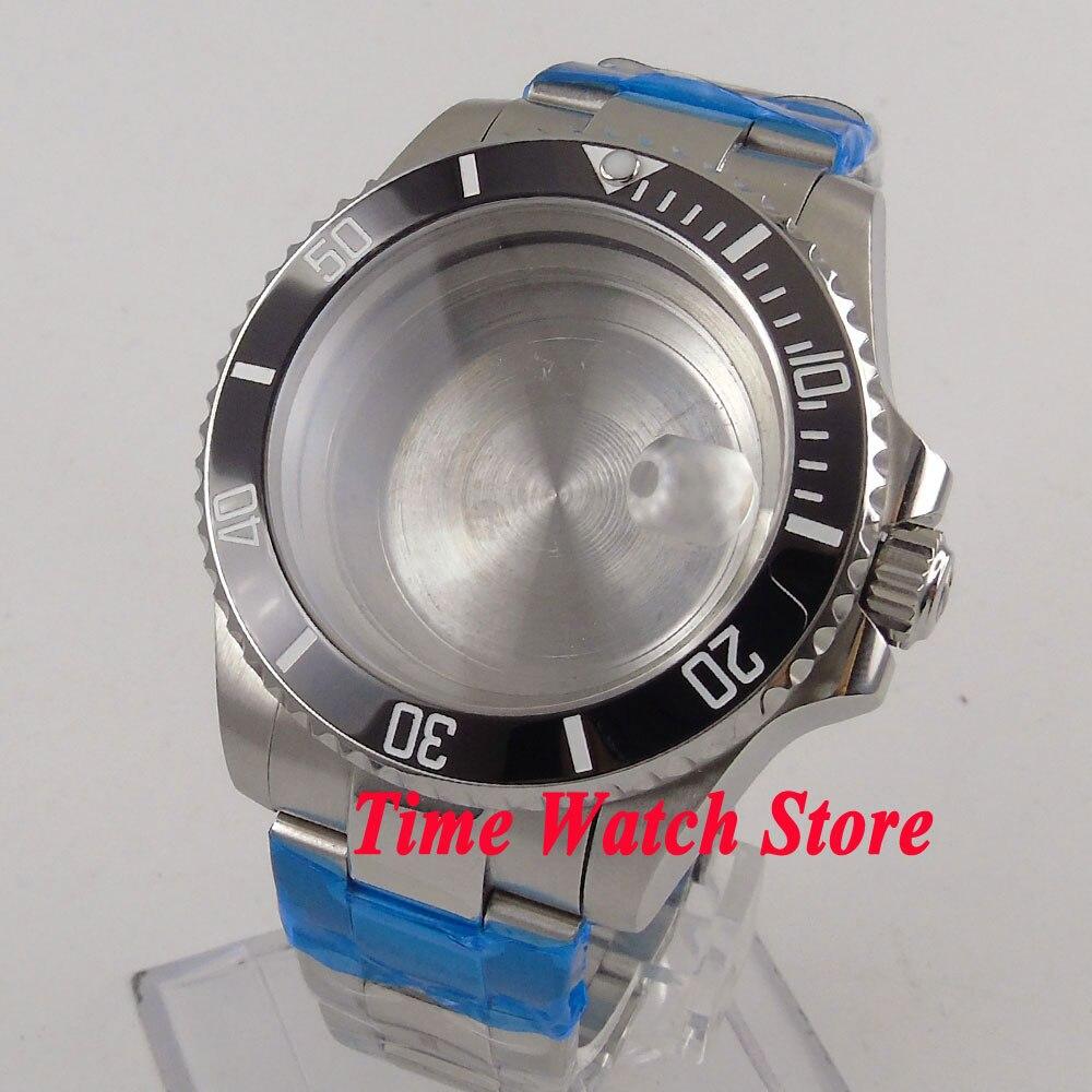 Fit ETA 2824 2836 movimento 40mm 316L cassa dell'orologio in acciaio inossidabile data lente di ingrandimento vetro zaffiro lunetta in ceramica nera 114