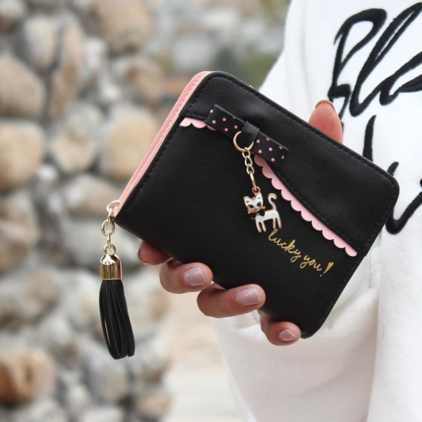 2020 carteras mujer Women Wallets Lady Fashion Cat pendant Mini Grind Magic Bifold Leather Wallet Women's Card Holder Purse