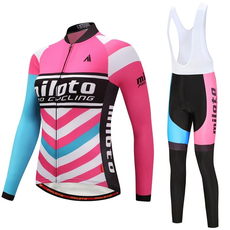 MILOTO チーム Ropa Ciclismo 女性のプロサイクリングジャージ長袖秋サイクリングスポーツ服バイクよだれかけパンツセット S 4XL  グループ上の スポーツ & エンターテイメント からの サイクリングセット の中 3
