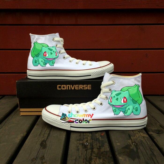 1ae0183b1 Unisex lienzo blanco Zapatos converse Portabrocas Taylor Pokemon Zapatos  bulbasaur diseño pintado a mano sneakers