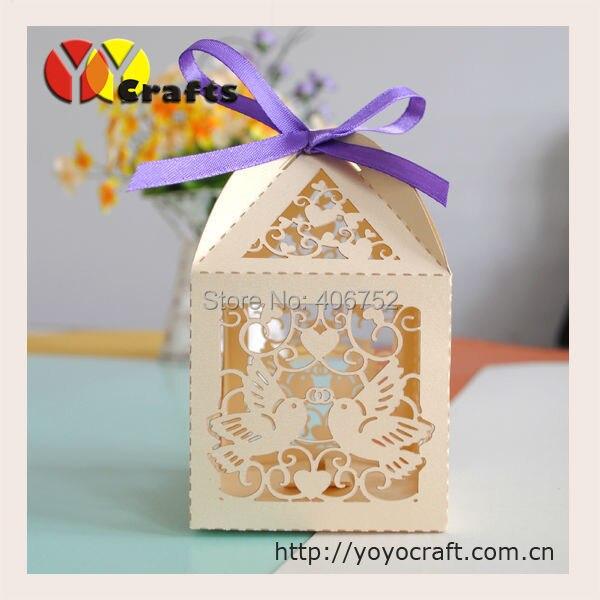 Оптовая свадебный сувенир индийский лазерная резка Любовь Птица Свадьба бумага подарочная коробка