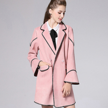 plus-size women's clothing New winter fashion pink turn-down collar Suede Fabric coats long sleeve trench coat oversize XLto5XL