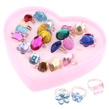 24pcs/Lot Girls Rings Party Fashion Toys Kids Favors Gifts(China)