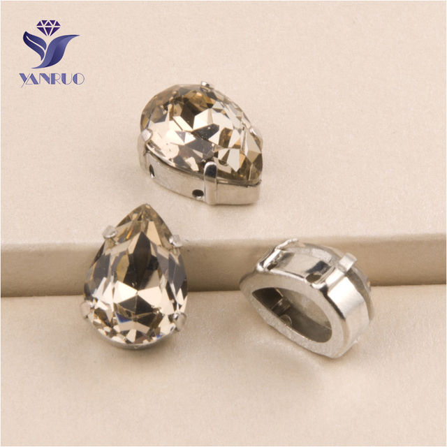 YANRUO  4320 All Sizes Light Smoked Topaz Drop Point Back Fancy Stones  Crystal Strass Sewing Garment Accessories 41619651eaa1