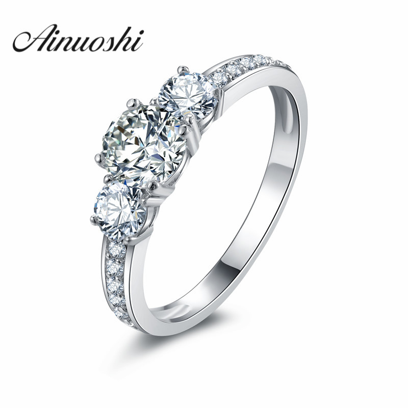 Lover Promise Round Cut Ring Synthetic Sona Gift Jewelry 925 Sterling Silver 3 Stone Rings For Women Eternity Ring Bijouterie