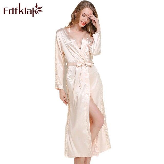 a0f51047b27 Fdfklak Black White Robe Sexy Silk Robes For Women 2018 Spring Summer Long  Sleeve Faux Silk Bathrobe Women Dressing Gown Q1029