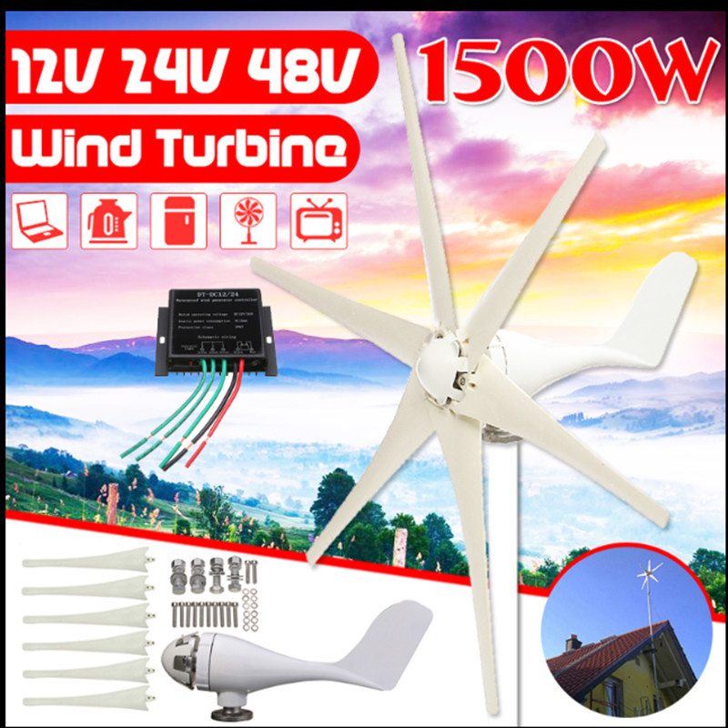 1500W 12V/24V/48V 6 Blade Wind Turbines+Controller Wind Generator Power Windmill Energy Turbines Charge Home Or Camping1500W 12V/24V/48V 6 Blade Wind Turbines+Controller Wind Generator Power Windmill Energy Turbines Charge Home Or Camping