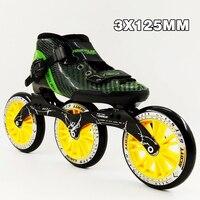 3 колеса профессиональный углерода Гонки Скорость скейт обувь Для женщин Для мужчин роллеров Сапоги 125 мм большой круглый роликов взрослых