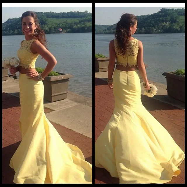 bd3419e2282 Yellow 2 Piece Lace Prom Dresses Mermaid Sleeveless Long Party Dress Formal  Evening Gowns 2017 Custom Graduation Gowns