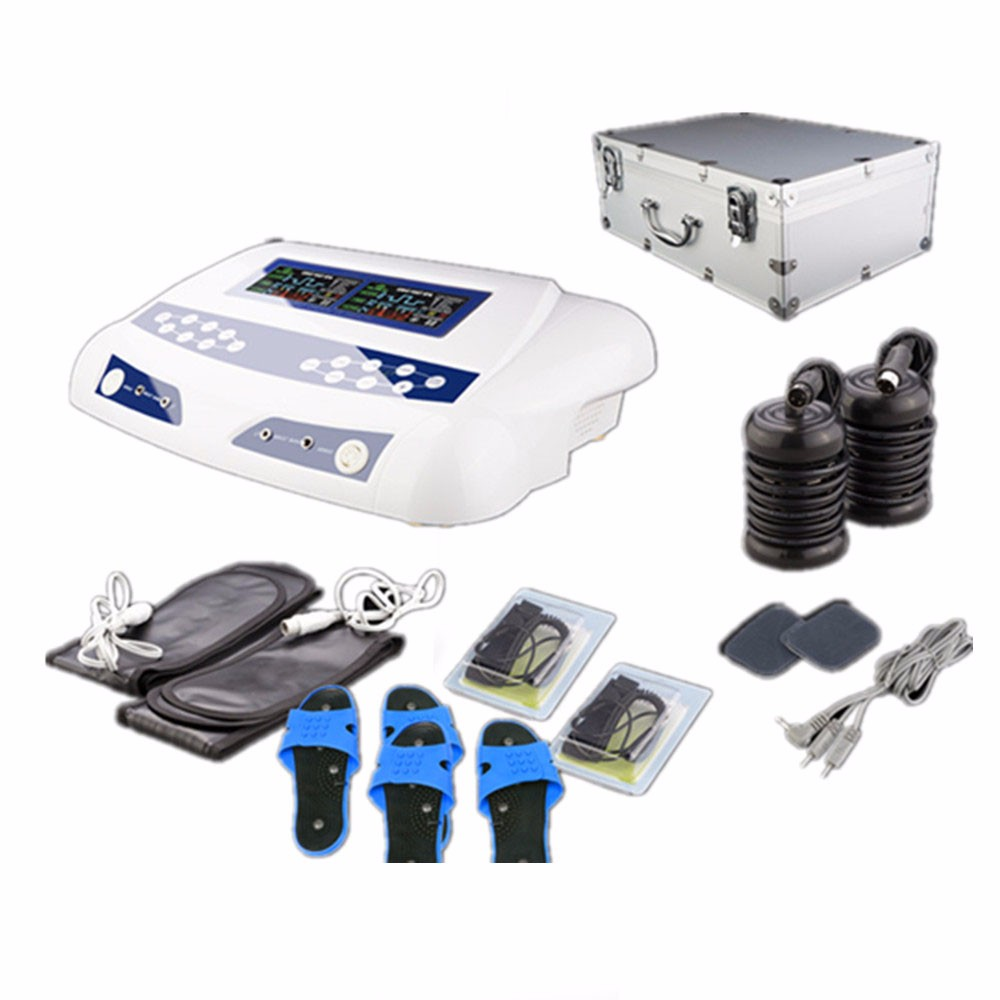 Ion Cleanse Foot Spa Detox Machine for Two Persons AH 805C Single Screen with Dual Massager Slippers and portable Aluminum Box