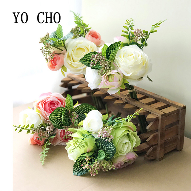 Yo Cho Party Blue Rose Pink Peony Bridesmaid Bouquet Bridal Bouquets Mariage Wedding For Brides