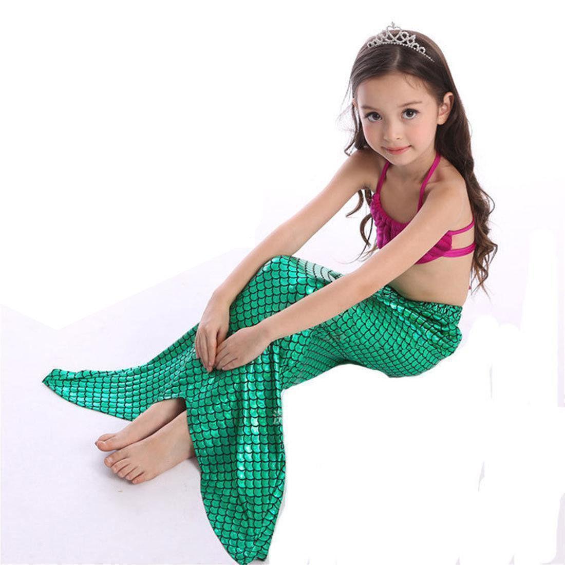 3pcs Child Kids Girls Shell Mermaid Tail High Waist Bikini
