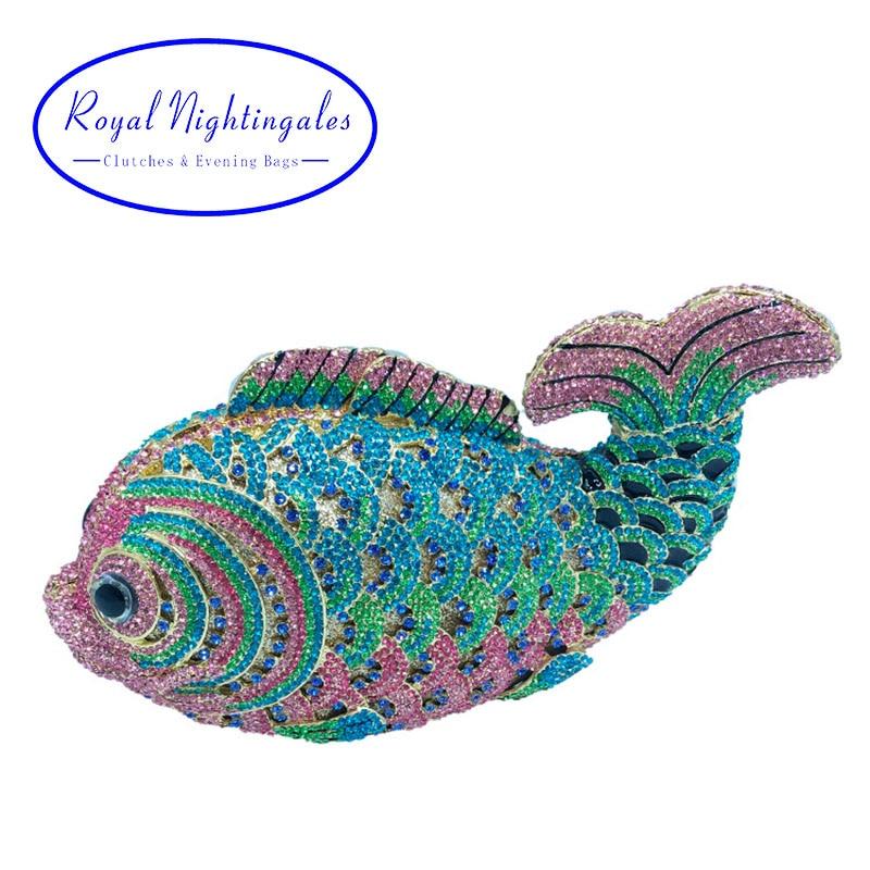 цена New Crystal Fish Clutch Small Animal Clutch Purse for Womens Wedding Prom Dinner Party Rhinestone Fish Evening Bags в интернет-магазинах