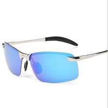 Moda Para Hombre Polarizadas gafas de Sol Sin Montura Rectángulo Deporte Hombres Revestimiento de Espejo de Conducción Gafas de Sol Hombre Gafas de sol Gafas de sol Oculos