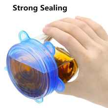 6 pcs/Bag Food Grade Silicone Wrap Fresh Keeping Saran Lid High Stretch Seal Vacuum Container Cover Lids Kitchen Tool