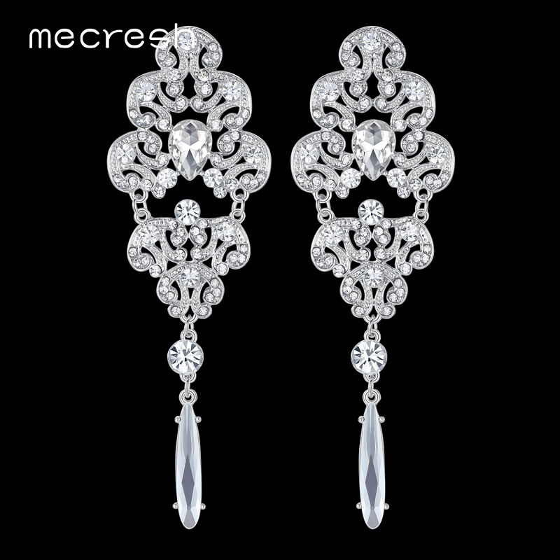 Mecresh Top Rhinestone Wedding Earrings for Women Silver Color Crystal Floral Bridal Long Drop Earrings Fashion Jewelry EH165