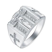 Christian Jesus Cross Zirconia Ring Voor Mannen Vrouwen Goud/Zilver Kleur Geloof Gebed Kruisbeeld Band Mannelijke Sieraden Grote Maat 6 15