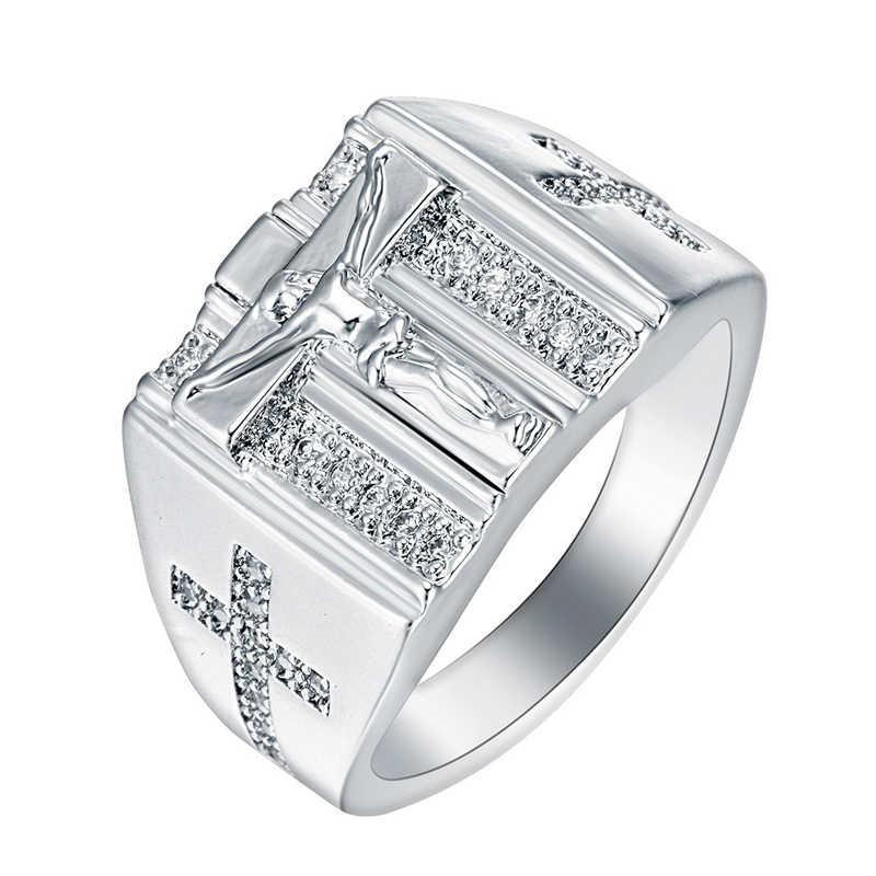 הנוצרי ישו צלב Zirconia טבעת לגברים נשים זהב/כסף טון אמונה תפילת צלב להקת זכר תכשיטי גדול גודל 6-15