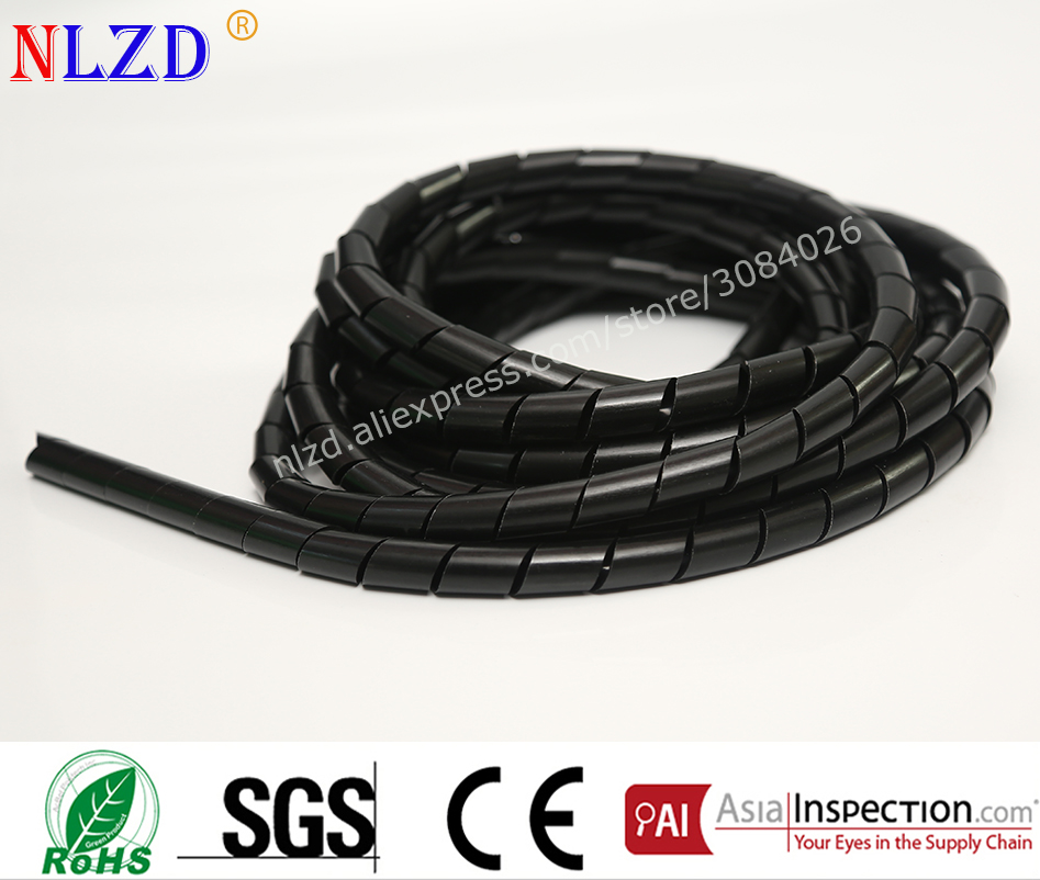 Flame retardant Black spiral bands diameter 4mm About 20M Sleeves Winding pipe