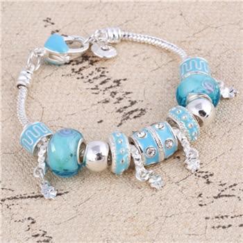 Pink Crystal Charm Silver Bracelets & Bangles for Women  Beads Silver Bracelet Femme Jewelry 25