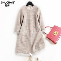 SHUCHAN vrouwen sexy mini teed Kantoor Dame 40% wol Pockets Driekwart mouw O-hals Winter warm nieuwe items 2018 8923