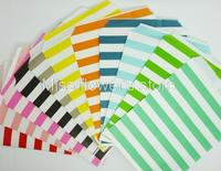 25 PCS Horizontal Stripes Pattern Treat Craft Bags Favor Food Paper Bags Party Wedding Birthday Decoration Color 1-11