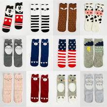 купить Kids Knee high sock Animal Print Baby Socks Fox Panda Grey bear cat cute fashion Cotton Baby Children sock RTS SK105 по цене 122.45 рублей
