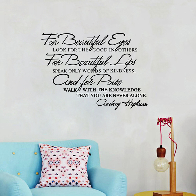 For Beautiful Eyes Audrey Hepburn Famous Quotes Vinyl Wall