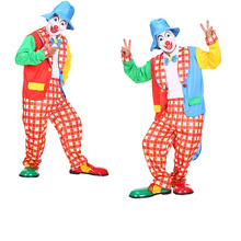 Men's Clown Costume Adult Circus Halloween Fancy Dress Colorful Party Outfits
