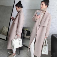 New Autumn Winter Women Coats Vestidos Plus Size Solid Fashion Slim XL Long Style Woolen Blends Coat For Women Larger Outerwear