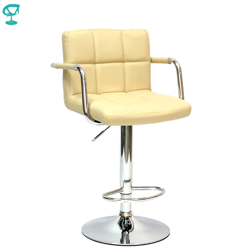 94246 Barneo N-69 Leather Kitchen Breakfast Bar Stool Swivel Bar Chair beige color free shipping in Russia