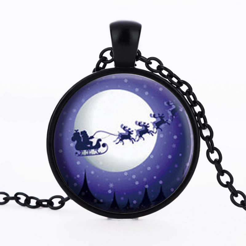 3/Color 2017 New Arrival Christmas Jewelry Santa Claus Carriage Necklace Glass Art Print Pendant Gifts for Boys Girls