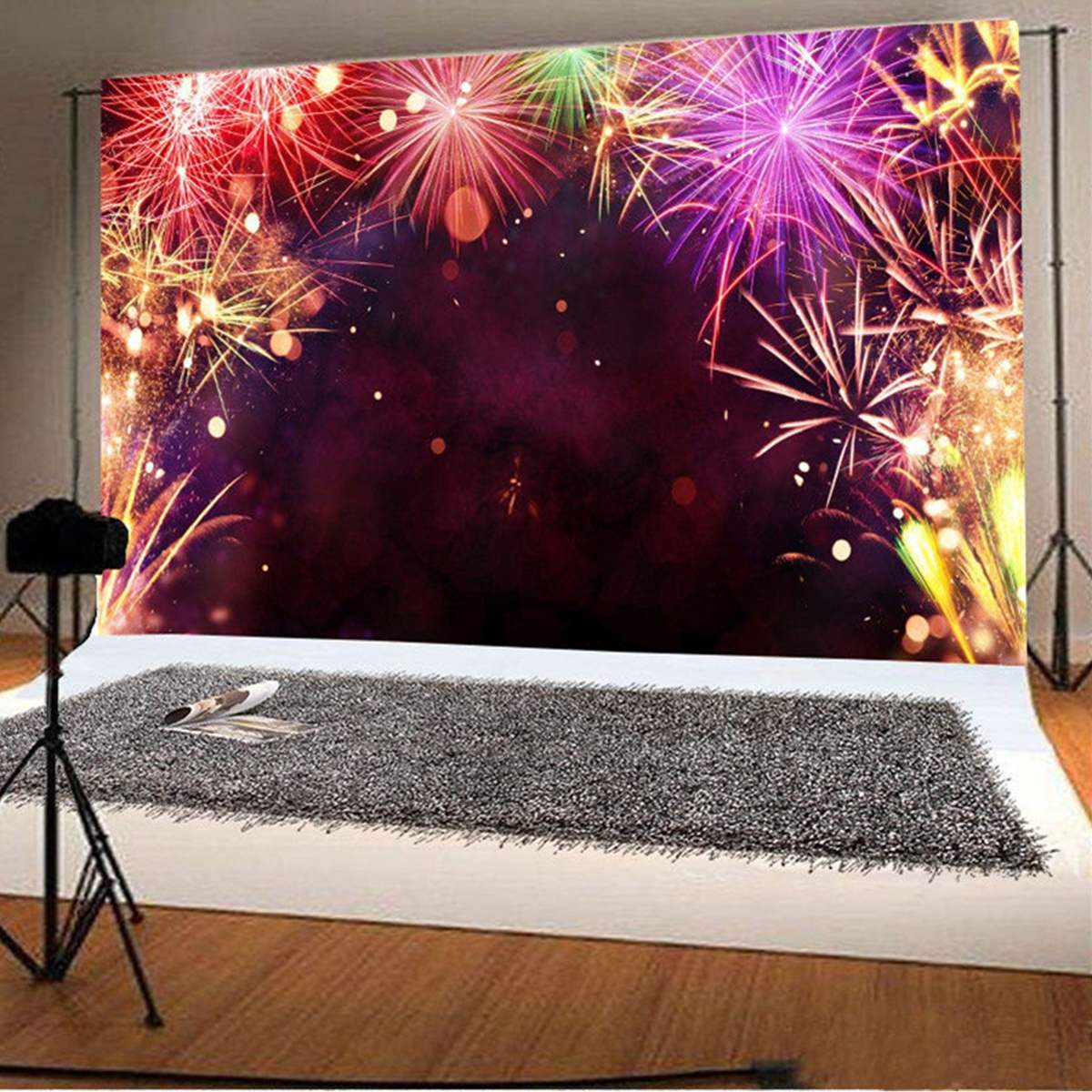 5x3FT Happy New Year Fireworks Studio Background Photography Backdrop Vinyl Prop New Arrival