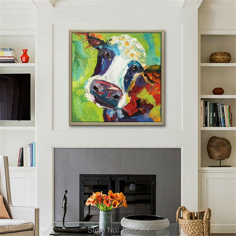 Sapi lukisan Di Atas Kanvas Hewan Lukisan akrilik gambar Seni Dinding - Dekorasi rumah - Foto 4