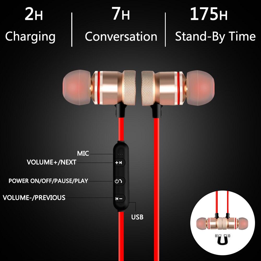 ALANGDUO Bluetooth earphones Metal Magnetic Wireless Headphone Sport Running Earbud Stereo Super Bass Headset V4.1 Mic Earphone 5
