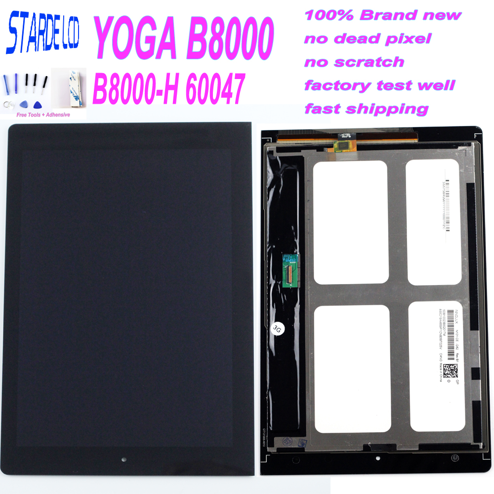 Starde 10.1 LCD For Lenovo <font><b>B8000</b></font> Yoga Tablet 10 60047 LCD Screen Matrix Display Touch Digitizer Sensor Full Assembly with Frame image