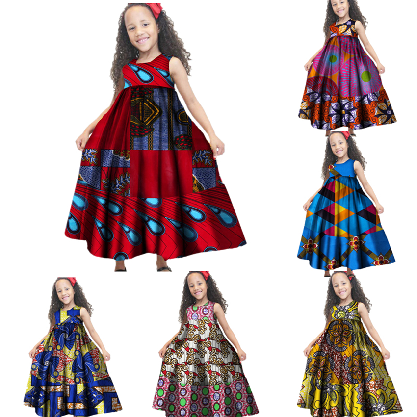 25Color African Dresses For Girls Rich Print Dashiki 100%Cotton Traditional Africa Fashion Clothing Princess Kids Dress