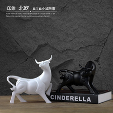 Modern Creative resin cow bull statue vintage home decor crafts room decoration objects bar lucky Cattle animal figurines