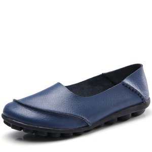 Image 2 - dobeyping 2018 New Casual Women Shoes Soft Genuine Leather Woman Flats Solid Female Loafers Slip On Mother Shoe Plus Size 35 44