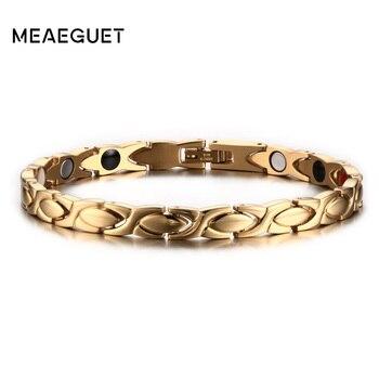 f794e75dd5ac Meaeguet oro Color saludable magnético pulseras y brazaletes para hombres  de la pulsera del brazalete del acero inoxidable cuerpo de la joyería
