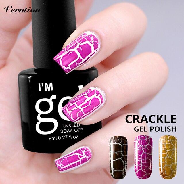 Verntion ноготь с эффектом трещин Гель-лак Soak Off DIY Nail Art 12 цветов гель-кракле лак для ногтей Esmaltes Permanentes Гибридный Гель-лак