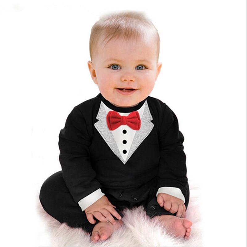 Hot Sale Baby Boy Rompers 2016 Suit Infant Set Toddler Cotton Long Sleeve Formal Gentleman Suit Baby Jumpsuit Sets Black White