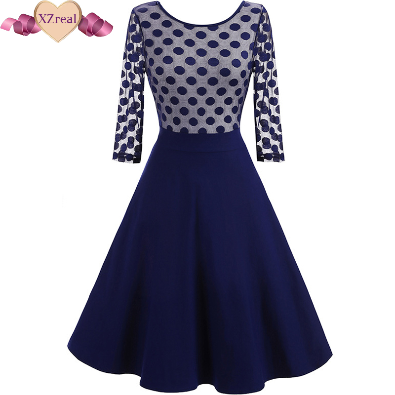 Buy Cheap Women Dress Summer 3/4 Sleeve Lace Tunic Work Office 50s rockabilly Vintage Dresses Plus Size 2017 Black blue Sexy Club Dresses