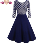 Save 15.53 on Women Dress Summer 3/4 Sleeve Lace Tunic Work Office 50s rockabilly Vintage Dresses Plus Size 2017 Black blue Sexy Club Dresses