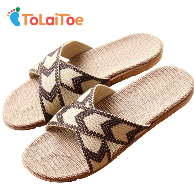 ToLaiToe Best Price National New Linen Home Slipper Men Summer Cool Breathable Silent Sweat Slippers EVA Non-slip Floor Shoes coolsa new summer linen women slippers fabric eva flat non slip slides linen sandals home slipper lovers casual straw beach shoe
