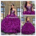 Súper ventas vestidos de quinceañera 2016 Organza vestido de fiesta con la chaqueta cristal cariño dulce 16 vestido dulce 15 vestidos vestidos de 15