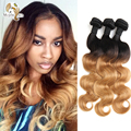 Best Ombre Virgin Hair Body Wave Brazilian Hair 2 Tone T1B/27 Ombre Hair Extensions Weave Bundles Cheap Brazilian Hair 3 Bundles