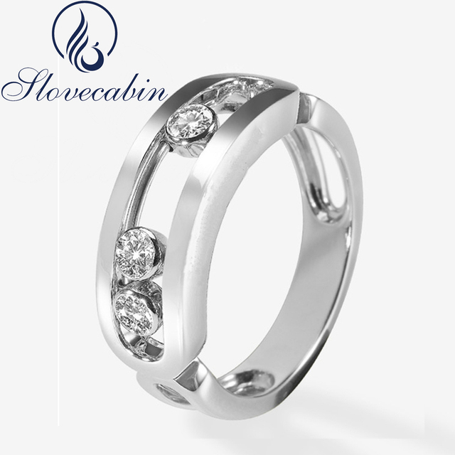 Slovecabin France Popular Pure 925 Sterling Silver Move Wedding Ring