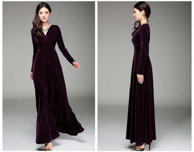 ef5b3a715fa12 US $26.22 40% OFF|Long Dres Plus Size S~3XL Women Winter Dresses Long  Sleeve V Neck Maxi Dress Velour Women Sexy Dresses Party Night Club  Dress-in ...